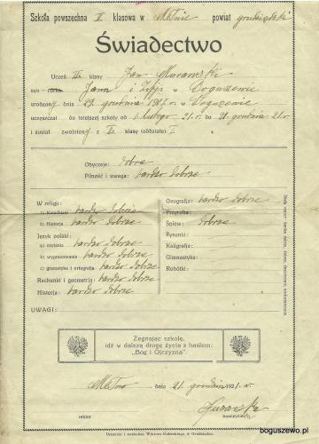 15 1921r. Świadectwo drukiem Kulerskiego