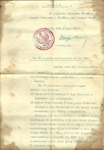 1922r  dobiasz   akt kupna gospodarstwa  1