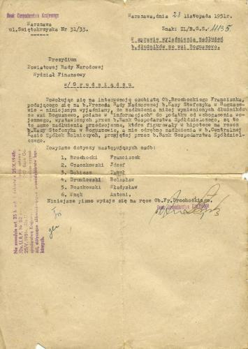 1951r  pismo w sprawie kasy stefczyka