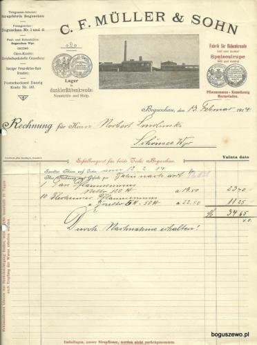 1914r. Fabryka - faktura niemiecka