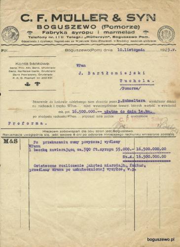1923r. Fabryka - faktura polska
