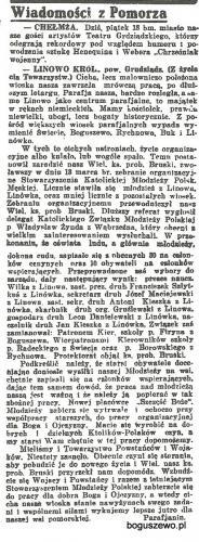02-1927r. Wycinek Goniec Nadwiślański - Kościół Linowo