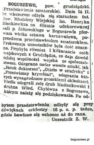 04-1925r. Wycinek Słowo Pomorskie - Boguszewo zabawa karnawałowa