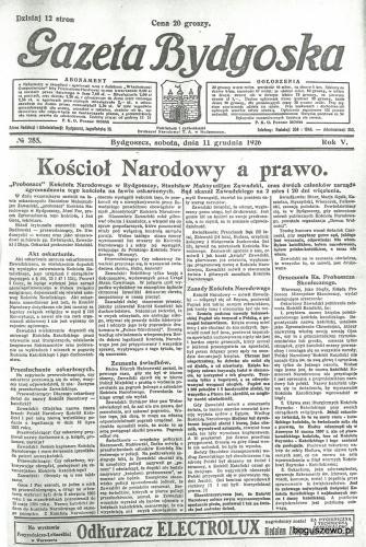 05-1926r. Cała strona Gazeta Bydgoska - Kościół Narodowy