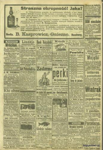 06-1907r. Cała strona Gazeta Grudziądzka - Ogłoszenia m.in. Fabryka marmolady w Boguszewie