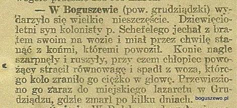 08-1916r. Wycinek Gazeta Grudziądzka - Wypadek w Boguszewie