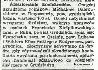 10-1933r. Wycinek Kurjer Bydgoski - Aresztowanie koniokradów