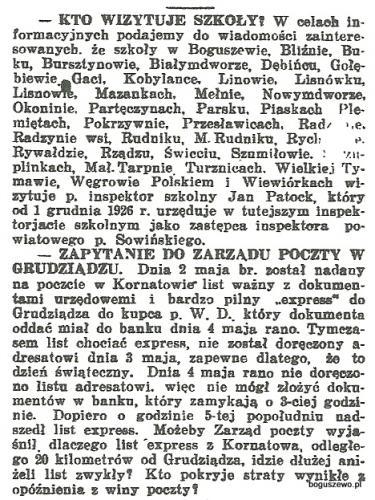 14-1927r. Wycinek Goniec Nadwiślański - Kto wizytuje szkoły