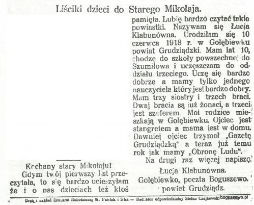 18-1929r. Wycinek Pochodnia - List do Mikołaja z Gołębiewka