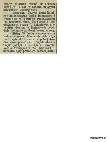1909r. Wycinek Gazeta Toruńska Kolonizacja Boguszewa