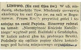 22-1928r. Wycinek Gazeta Gdańska - Linowo Boguszewo