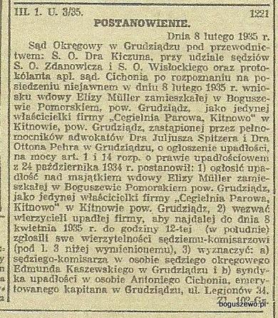 28-1935r. 25 marca Wycinek Gazeta Gdańska - Upadłość cegielni parowej
