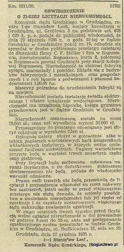 33-1935r. grudzień Wycinek Gazeta Gdańska - Licytacja fabryki