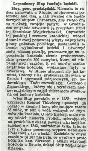 41-1926r. Wycinek Słowo Pomorskie - Kościół w Słupie