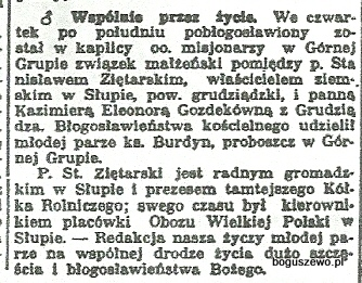 43-1935r. Cała. Wycinek Słowo Pomorskie - St. Zientarski ze Słupa