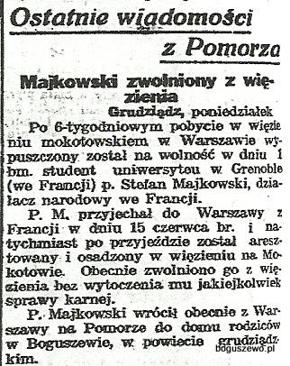51-1934r.Wycinek Słowo Pomorskie - Majkowski
