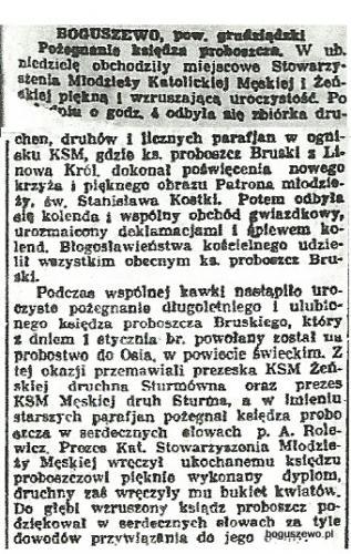 52-1935r. 5 stycznia Wycinek Słowo Pomorskie - Pożegnanie proboszcza
