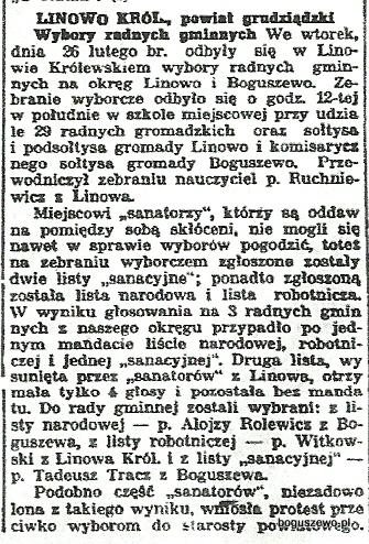 55-1935r. 10 marca Wycinek Słowo Pomorskie - Wybory radnych gminnych