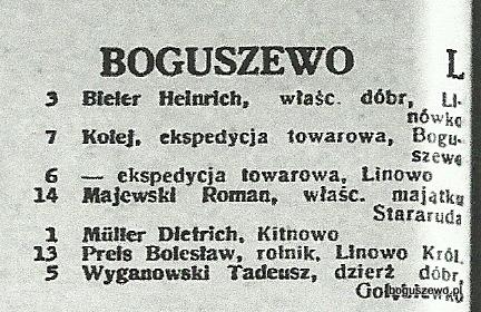 59-1939r. Wycinek Książka telefoniczna - Boguszewo